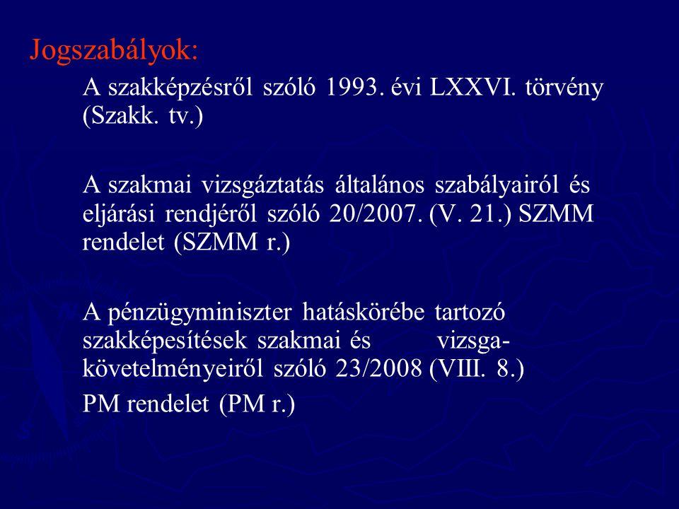 Jogszabályok: A szakképzésről szóló 1993. évi LXXVI. törvény (Szakk. tv.)