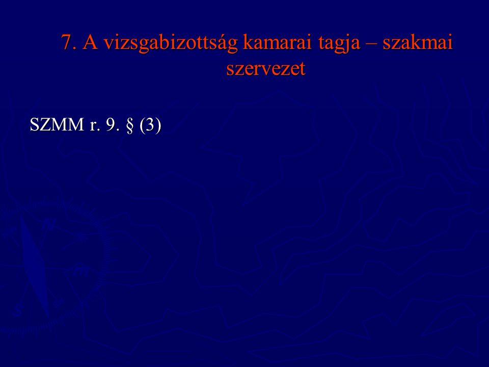 7. A vizsgabizottság kamarai tagja – szakmai szervezet