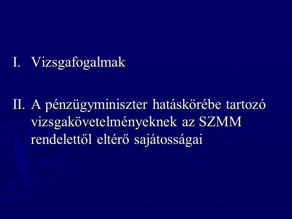 I. Vizsgafogalmak II.