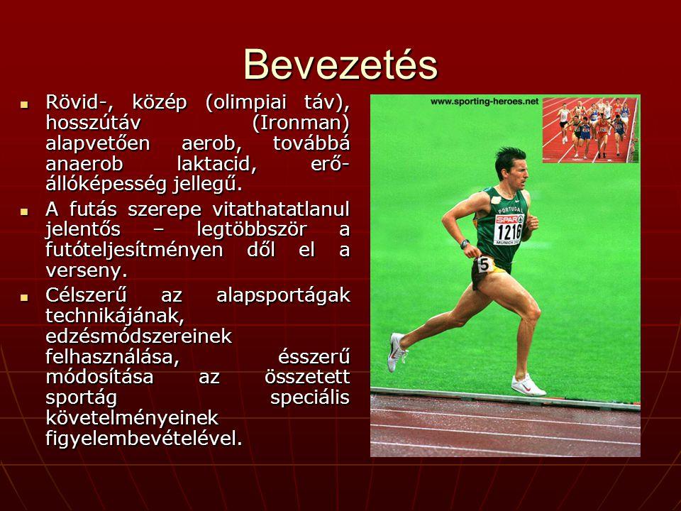Bevezetés Rövid-, közép (olimpiai táv), hosszútáv (Ironman) alapvetően aerob, továbbá anaerob laktacid, erő-állóképesség jellegű.