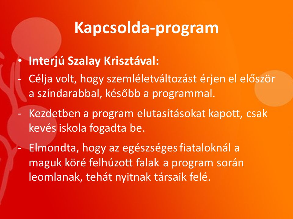 Kapcsolda-program Interjú Szalay Krisztával: