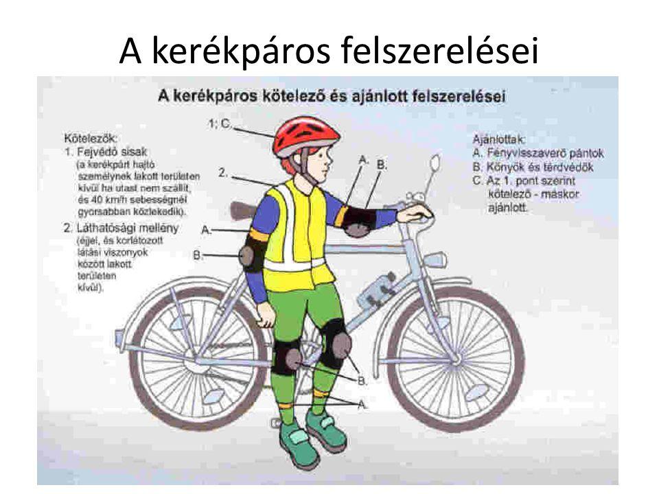 A kerékpáros felszerelései