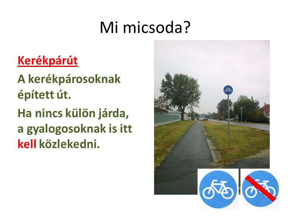 Mi micsoda. Kerékpárút A kerékpárosoknak épített út.