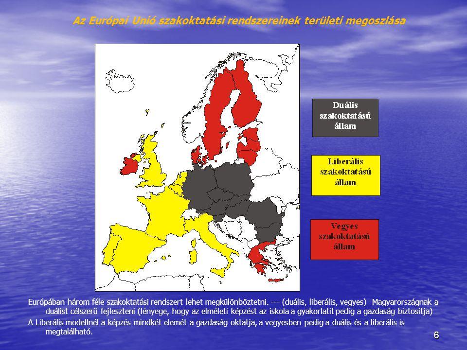 Az Európai Unió szakoktatási rendszereinek területi megoszlása