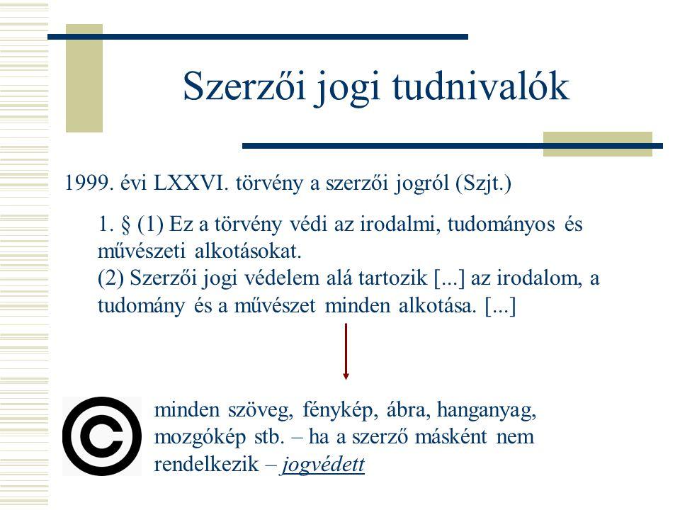 Szerzői jogi tudnivalók