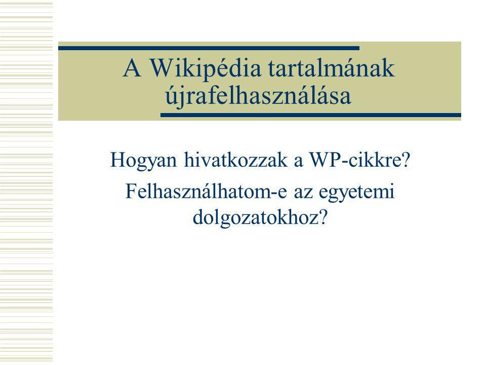 A Wikipédia tartalmának újrafelhasználása