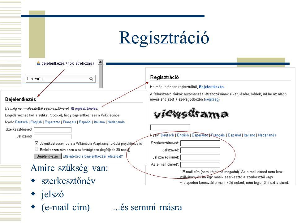 Regisztráció Amire szükség van: szerkesztőnév jelszó