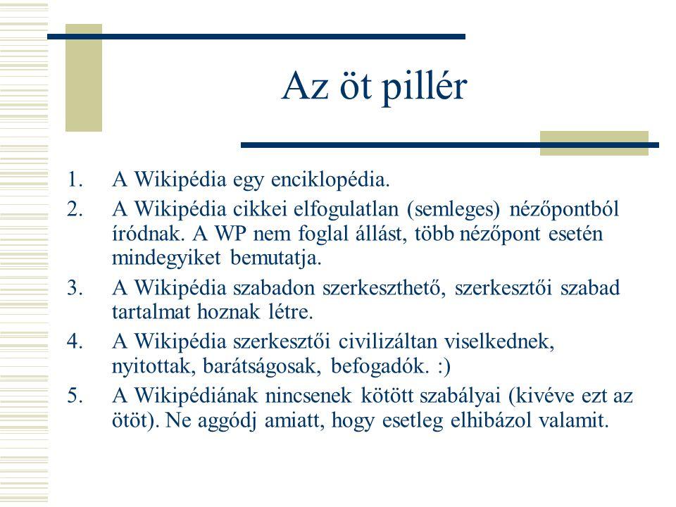 Az öt pillér A Wikipédia egy enciklopédia.
