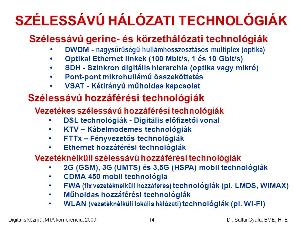 SZÉLESSÁVÚ HÁLÓZATI TECHNOLÓGIÁK
