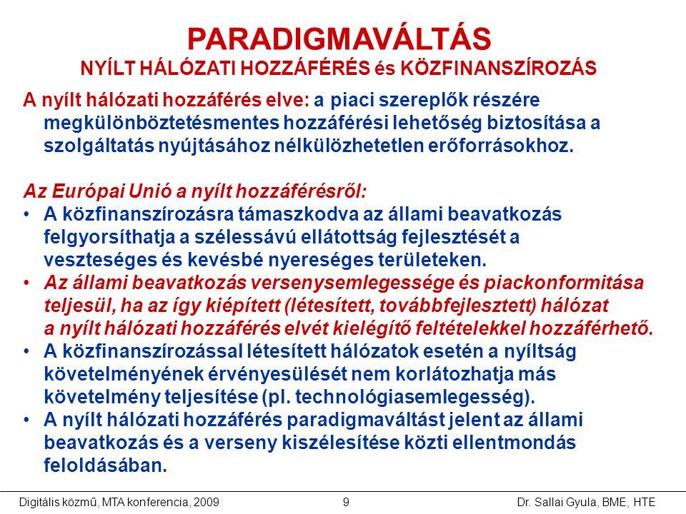 NYÍLT HÁLÓZATI HOZZÁFÉRÉS és KÖZFINANSZÍROZÁS