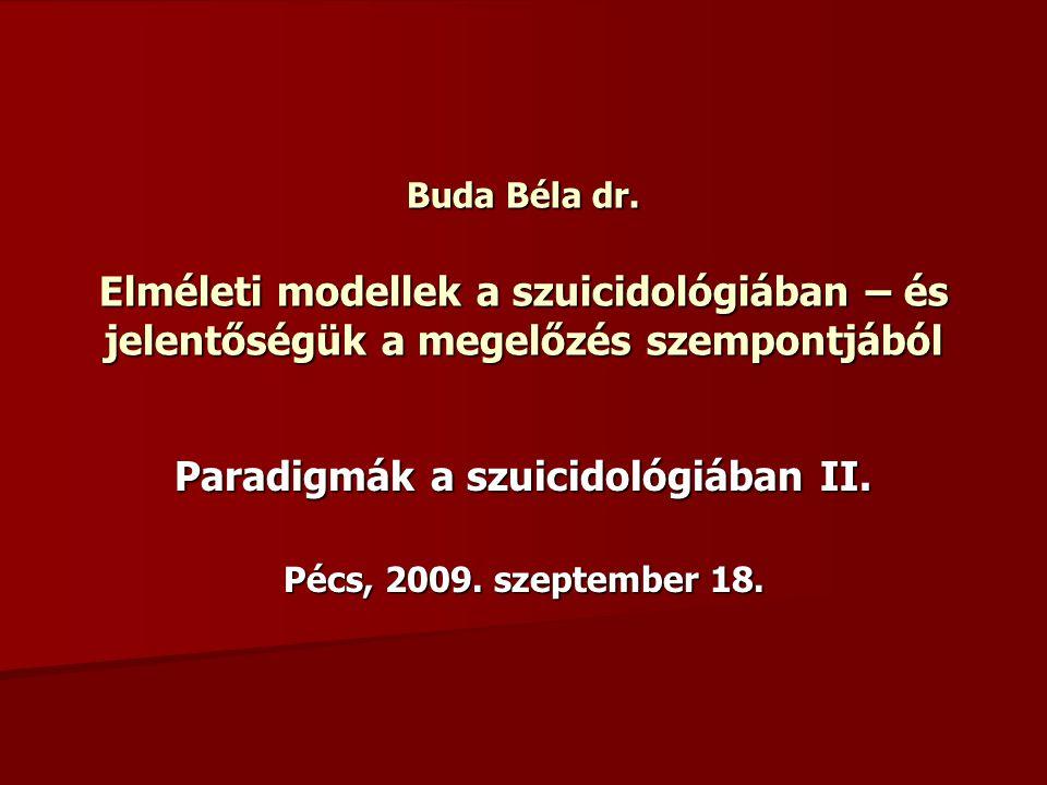 Paradigmák a szuicidológiában II. Pécs, 2009. szeptember 18.