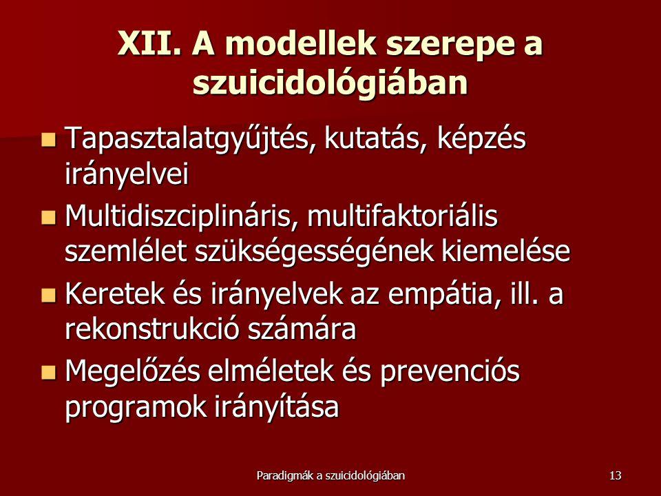 XII. A modellek szerepe a szuicidológiában