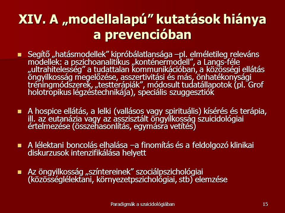 """XIV. A """"modellalapú kutatások hiánya a prevencióban"""