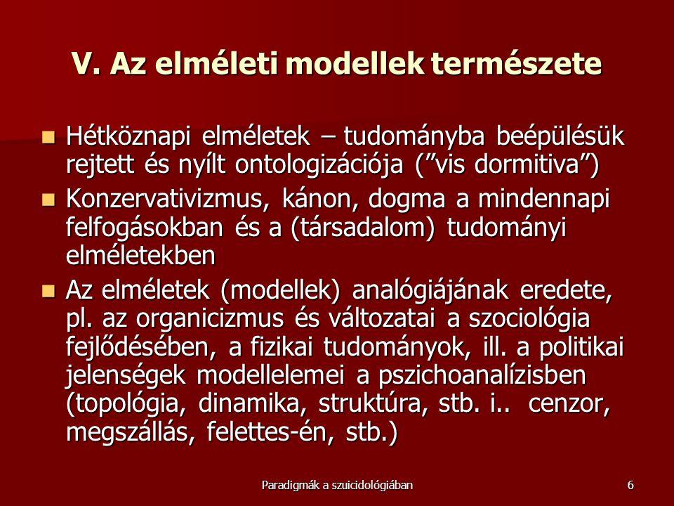 V. Az elméleti modellek természete
