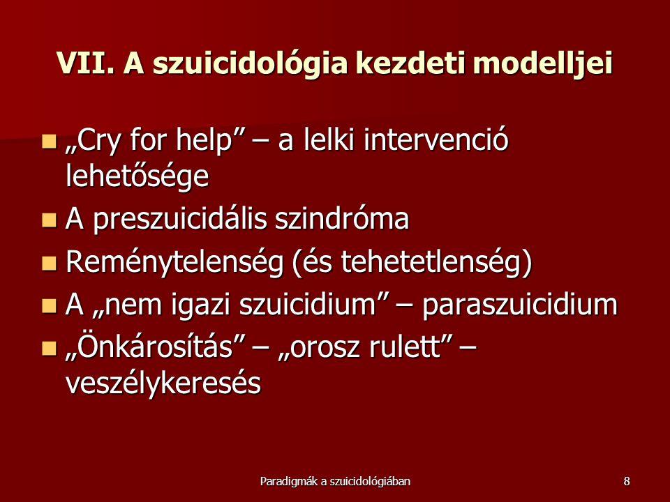 VII. A szuicidológia kezdeti modelljei