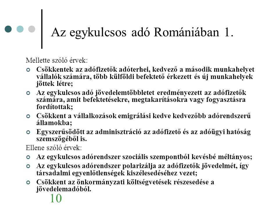 Az egykulcsos adó Romániában 1.