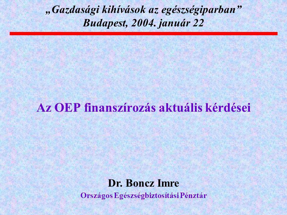 """""""Gazdasági kihívások az egészségiparban Budapest, 2004. január 22"""