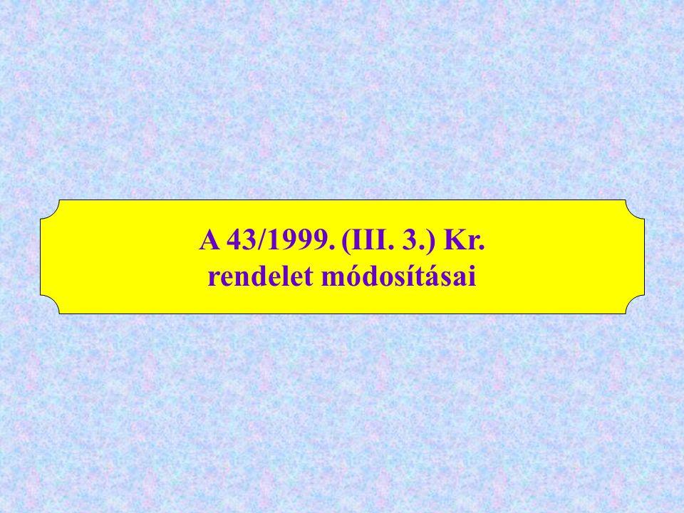 A 43/1999. (III. 3.) Kr. rendelet módosításai