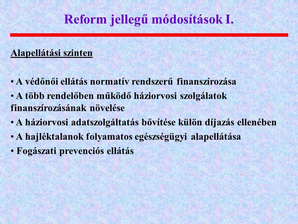 Reform jellegű módosítások I.