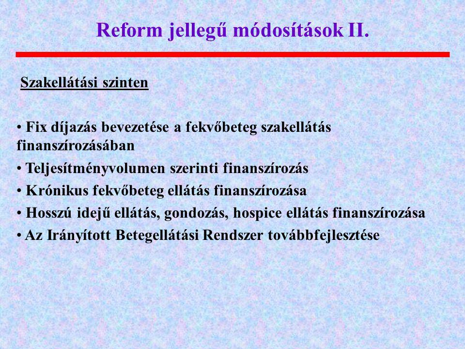 Reform jellegű módosítások II.