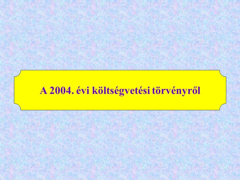 A 2004. évi költségvetési törvényről