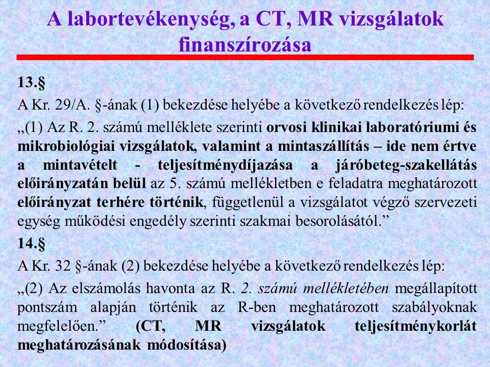 A labortevékenység, a CT, MR vizsgálatok finanszírozása