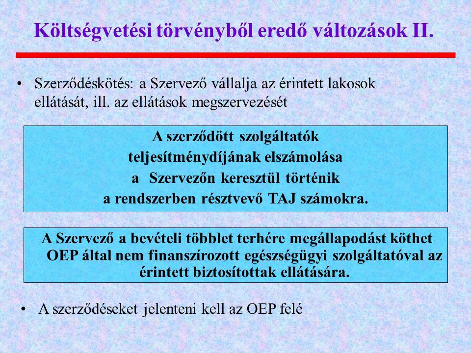 Költségvetési törvényből eredő változások II.