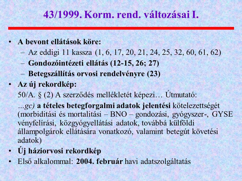 43/1999. Korm. rend. változásai I.