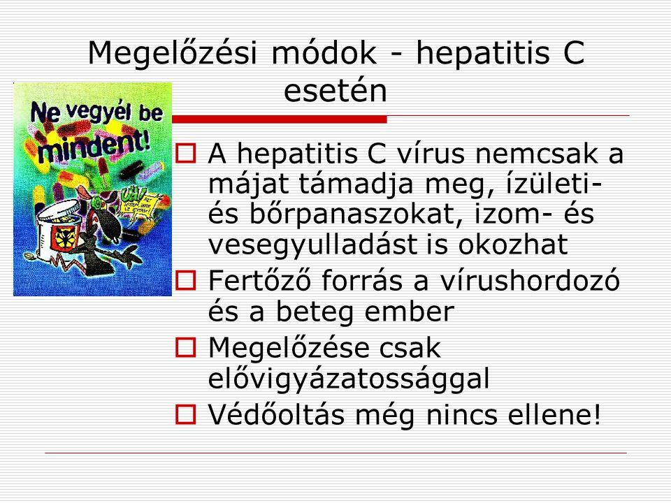 Megelőzési módok - hepatitis C esetén