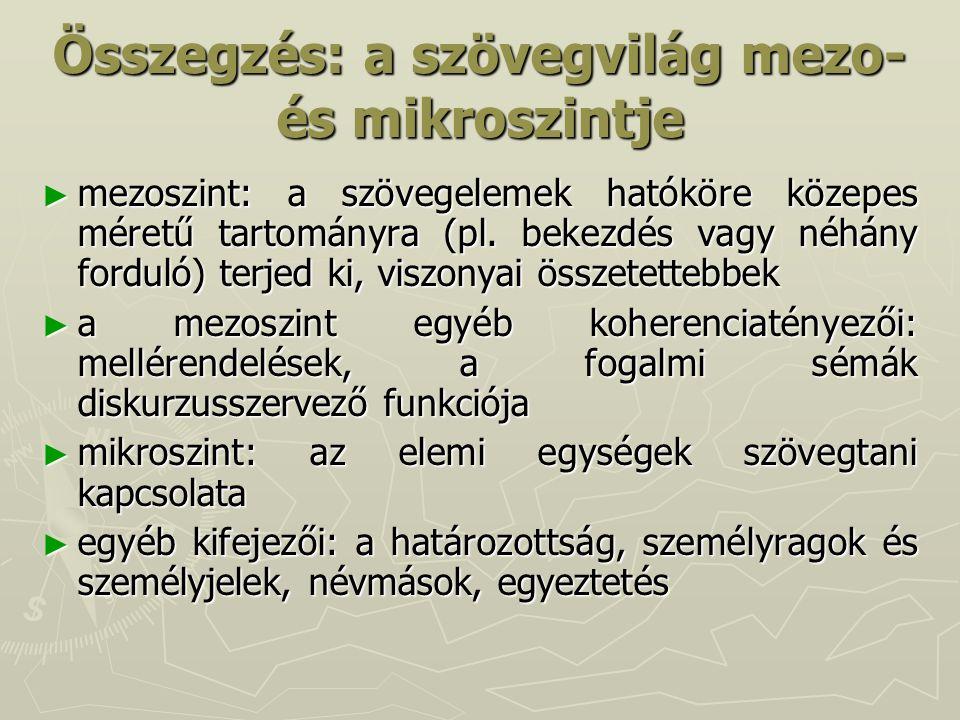 Összegzés: a szövegvilág mezo-és mikroszintje