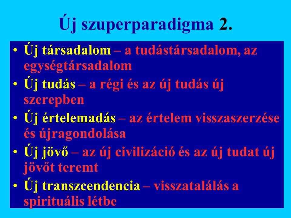 Új szuperparadigma 2. Új társadalom – a tudástársadalom, az egységtársadalom. Új tudás – a régi és az új tudás új szerepben.