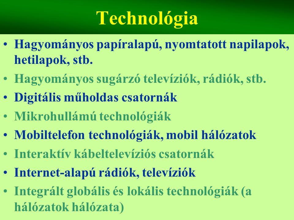 Technológia Hagyományos papíralapú, nyomtatott napilapok, hetilapok, stb. Hagyományos sugárzó televíziók, rádiók, stb.