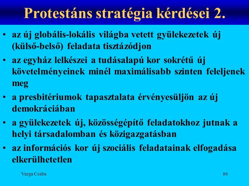 Protestáns stratégia kérdései 2.