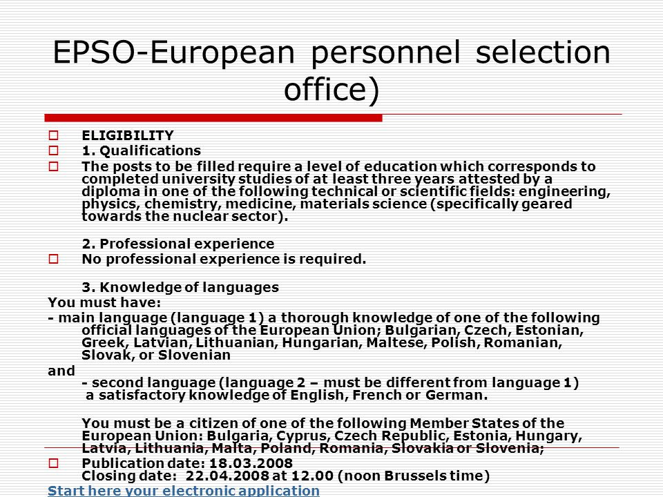 EPSO-European personnel selection office)