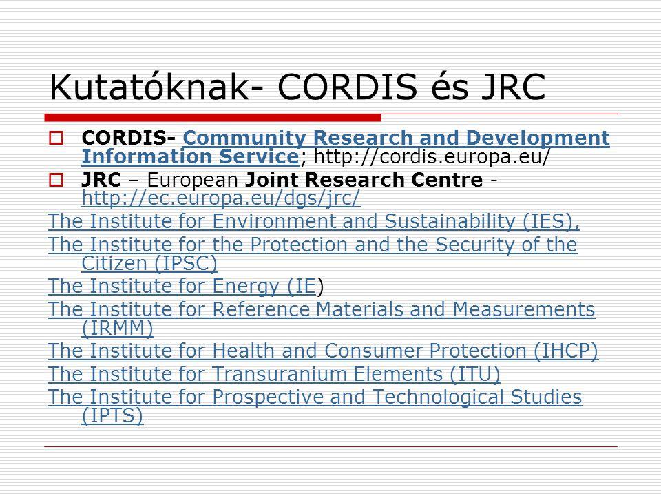 Kutatóknak- CORDIS és JRC
