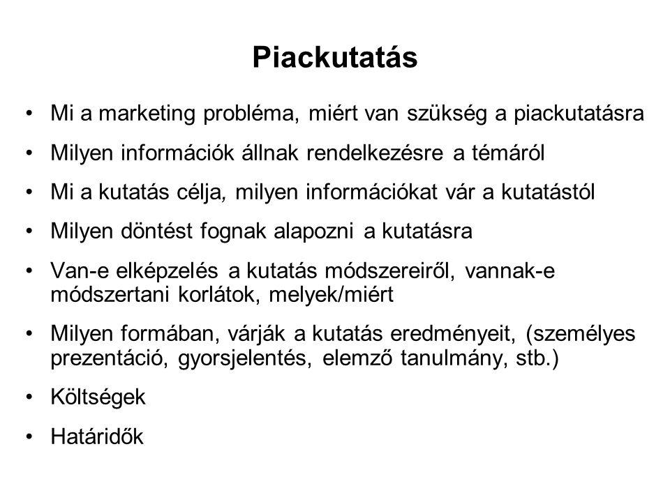 Piackutatás Mi a marketing probléma, miért van szükség a piackutatásra