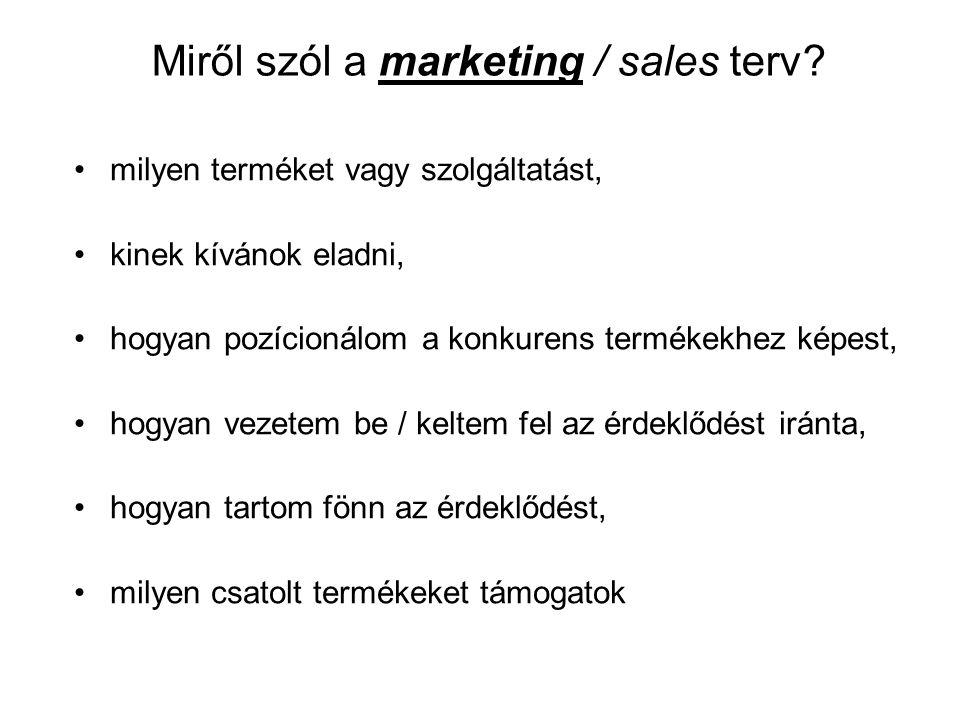 Miről szól a marketing / sales terv