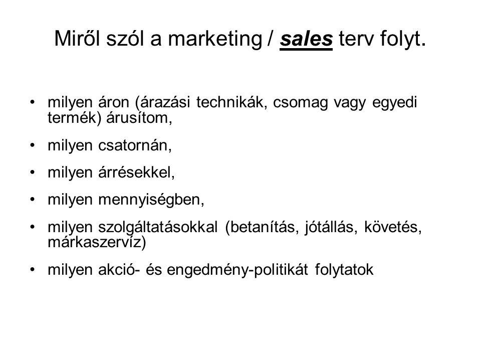 Miről szól a marketing / sales terv folyt.