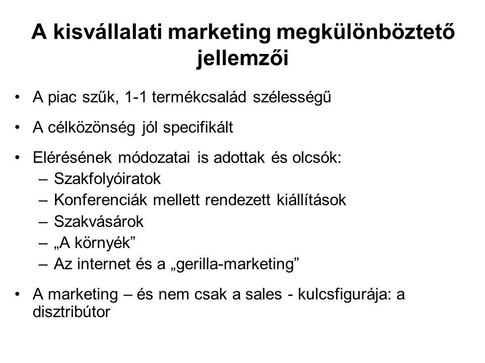 A kisvállalati marketing megkülönböztető jellemzői