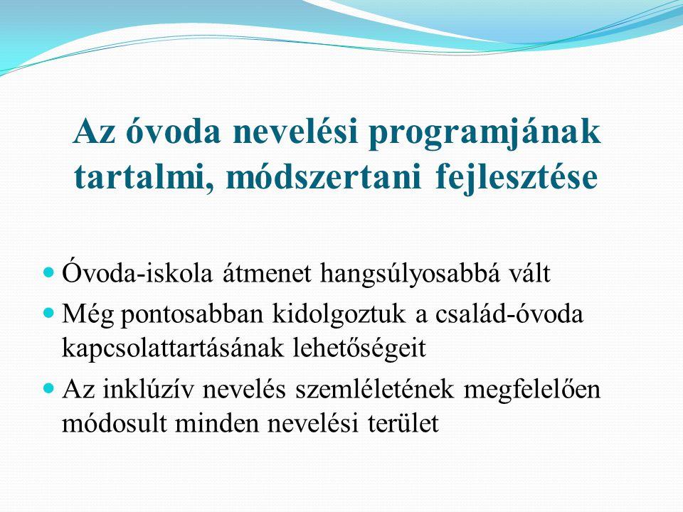 Az óvoda nevelési programjának tartalmi, módszertani fejlesztése
