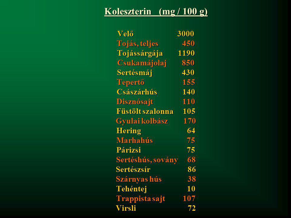 Koleszterin (mg / 100 g) Velő 3000 Tojás, teljes 450 Tojássárgája 1190