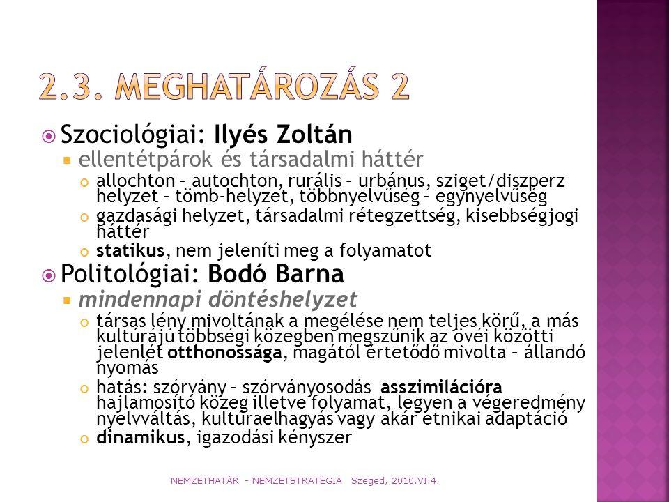 2.3. Meghatározás 2 Szociológiai: Ilyés Zoltán