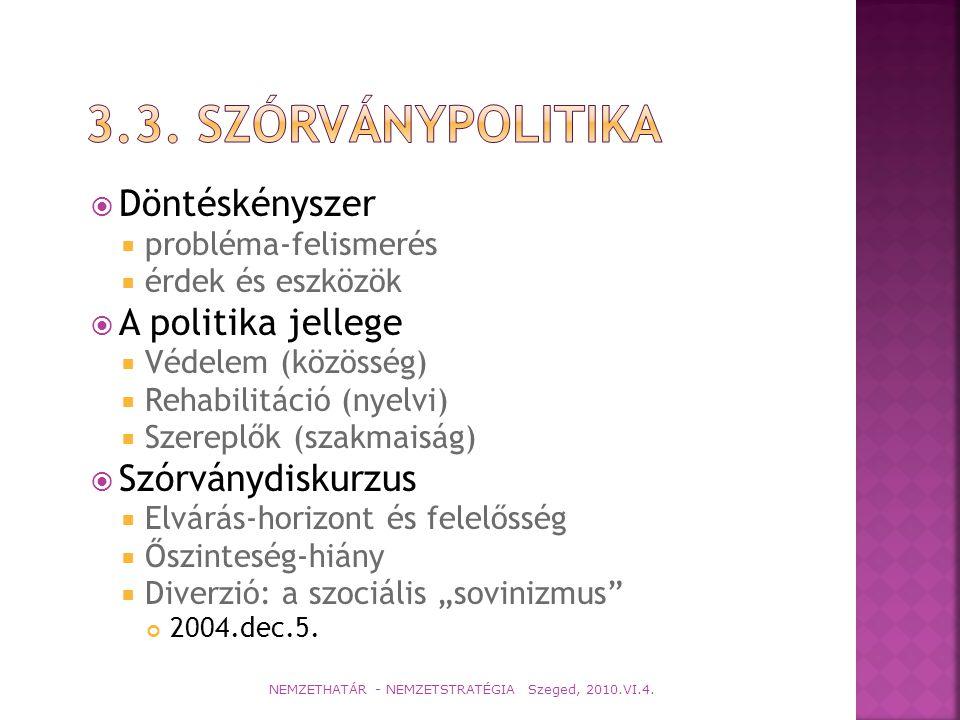 3.3. Szórványpolitika Döntéskényszer A politika jellege