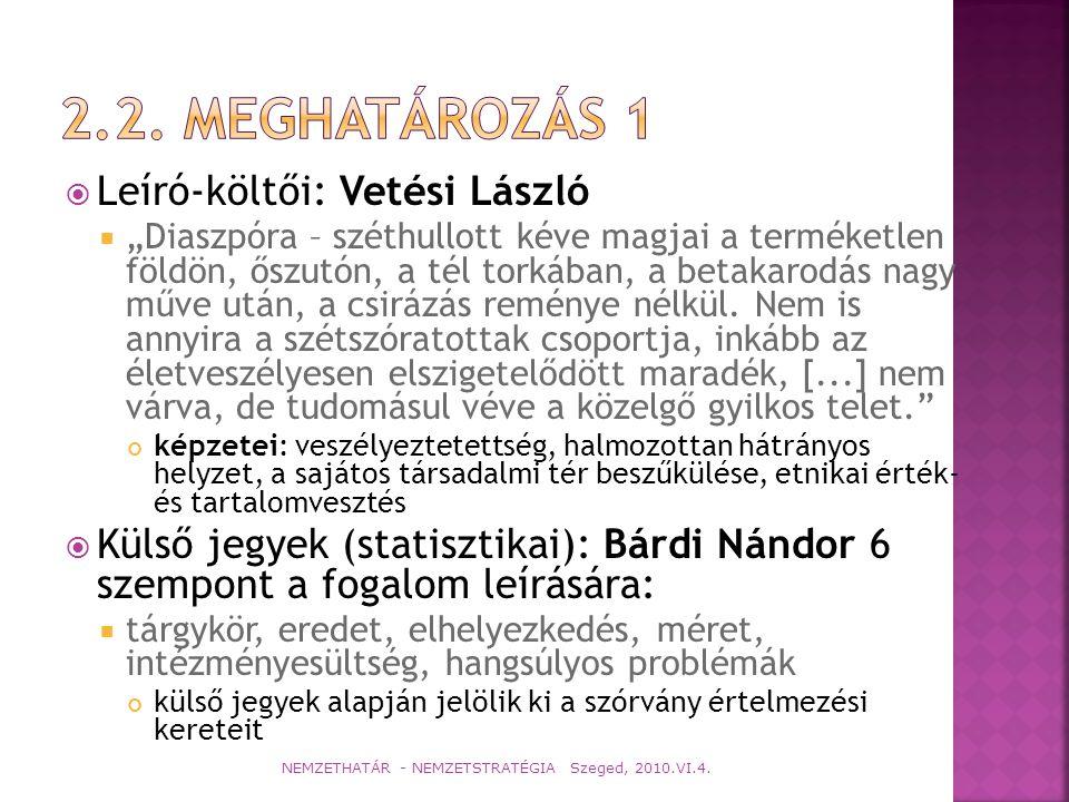 2.2. Meghatározás 1 Leíró-költői: Vetési László