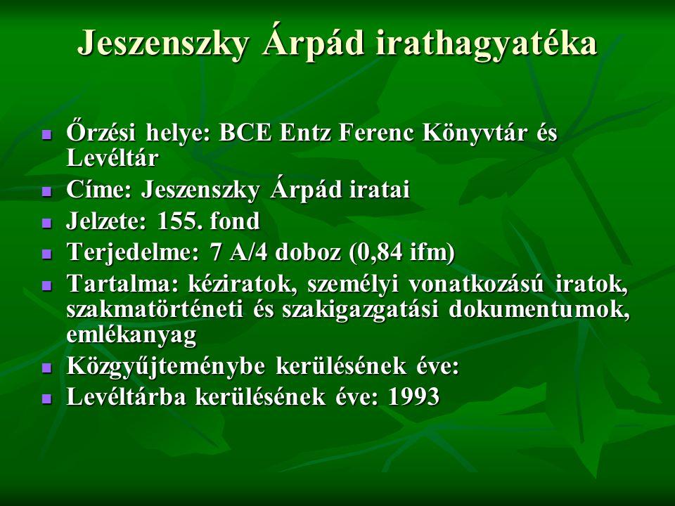 Jeszenszky Árpád irathagyatéka
