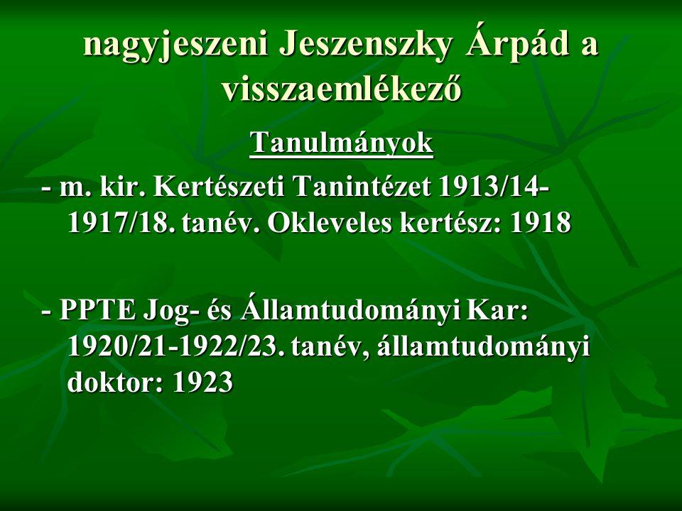 nagyjeszeni Jeszenszky Árpád a visszaemlékező