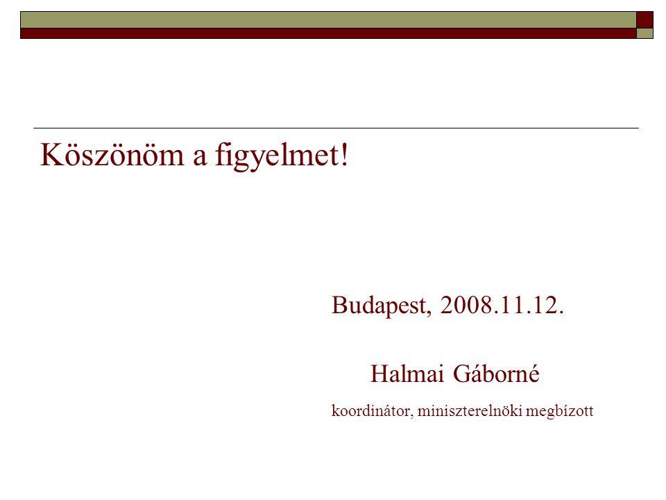 Köszönöm a figyelmet! Budapest, 2008.11.12. Halmai Gáborné