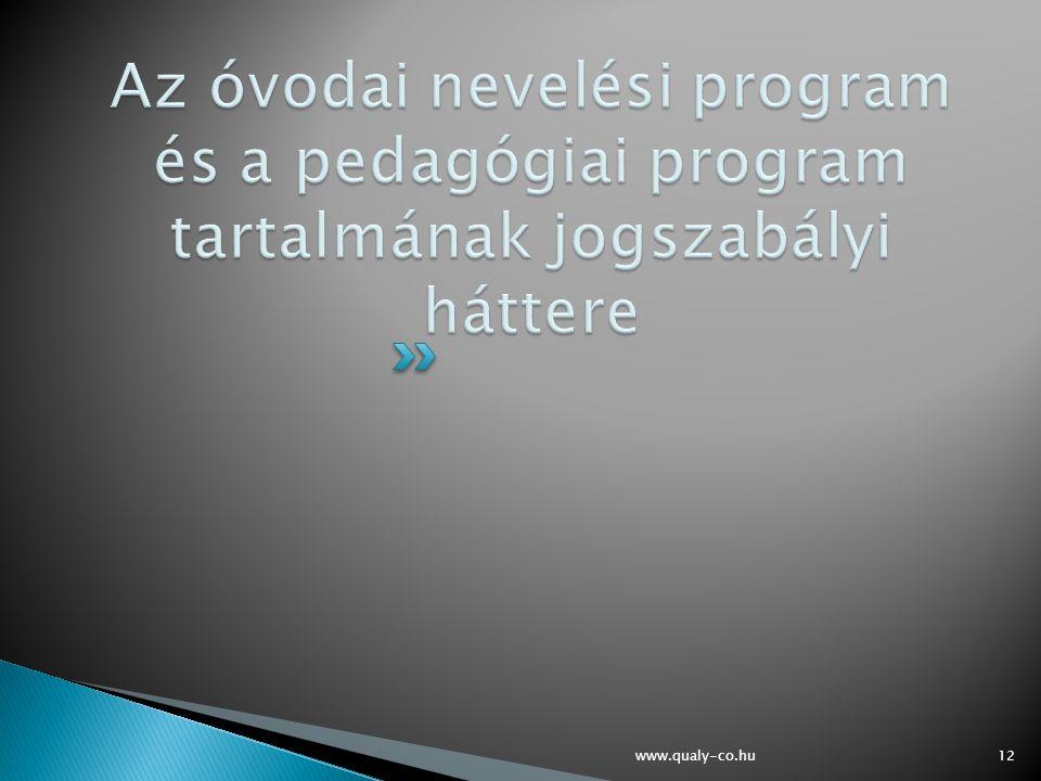 Az óvodai nevelési program és a pedagógiai program tartalmának jogszabályi háttere