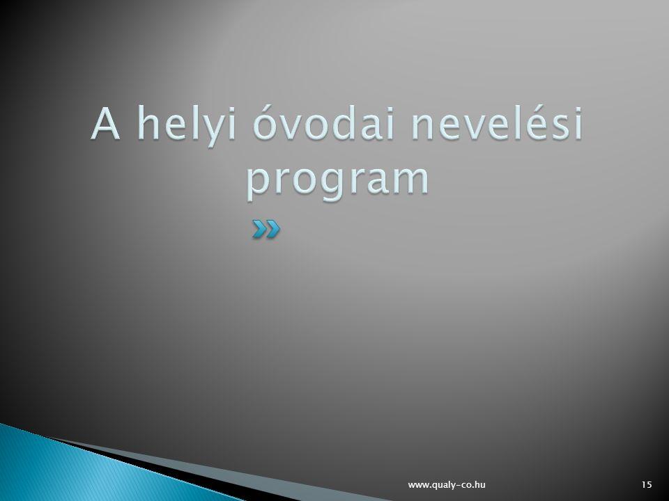 A helyi óvodai nevelési program
