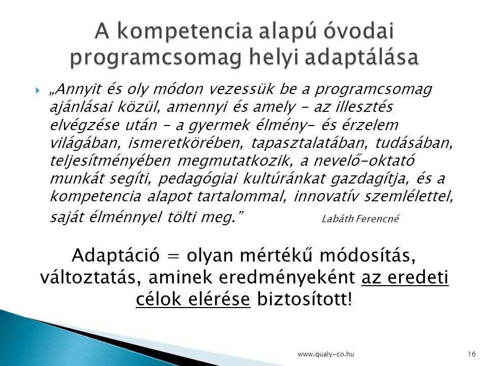 A kompetencia alapú óvodai programcsomag helyi adaptálása